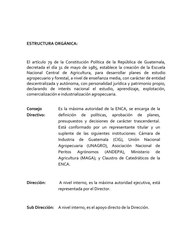 Estructura Orgánica El Artículo 79 De La