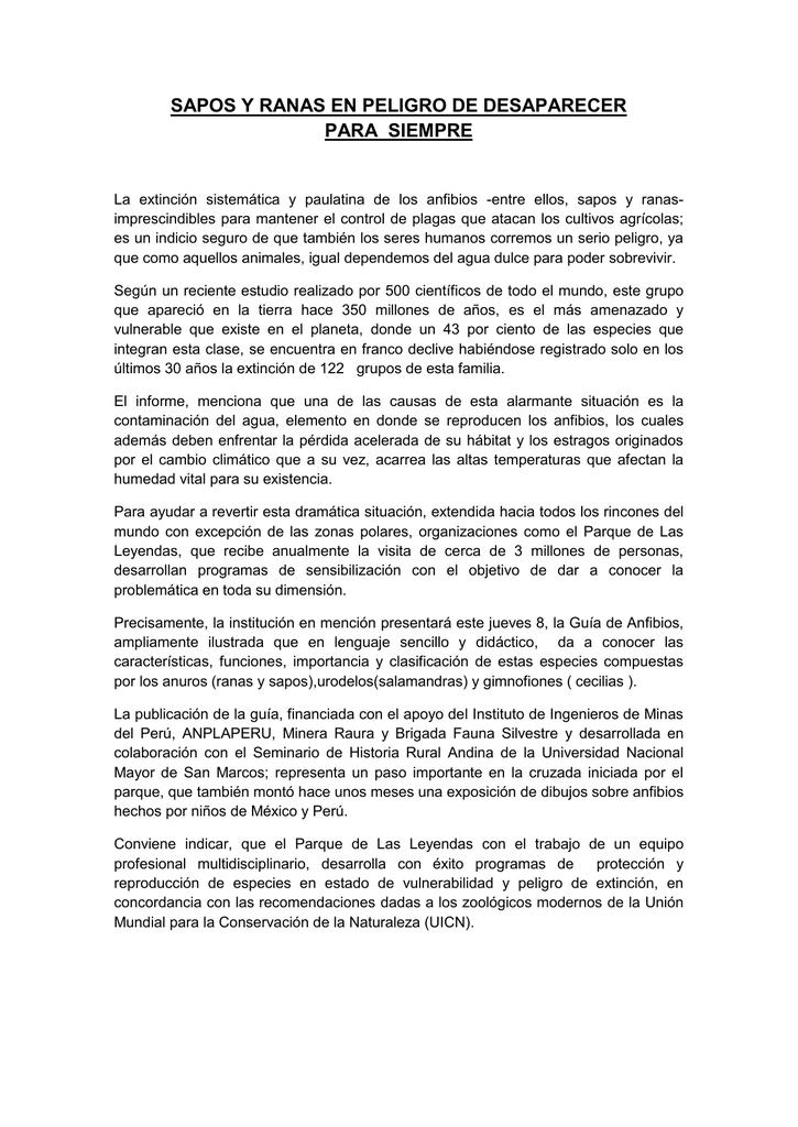 SAPOS Y RANAS EN PELIGRO DE DESAPARECER PARA SIEMPRE
