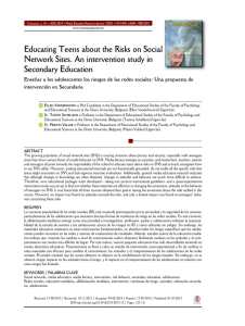 Educating Teens about the Risks on Social Network Sites. An