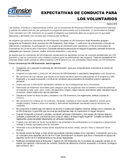 EXPECTATIVAS DE CONDUCTA PARA LOS VOLUNTARIOS