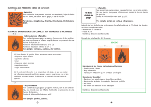 Inflamables Son sustancias cuyos gases y vapores forman