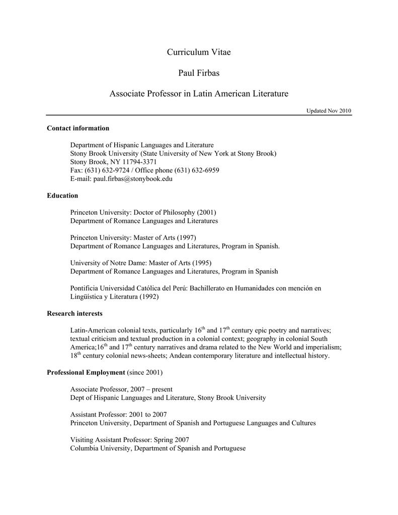 Curriculum Vitae of Paul P