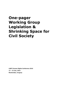 Legislation and Shrinking Space for Civil Society