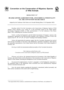 headquarters agreement for, and juridical personality of, the