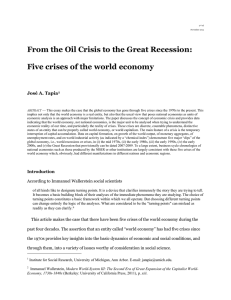 The five crises of the global economy since 1970 to 2011