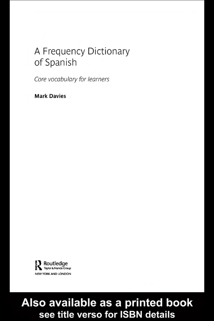 A frequency dictionary of spanish core vocabulary for learners fandeluxe Choice Image