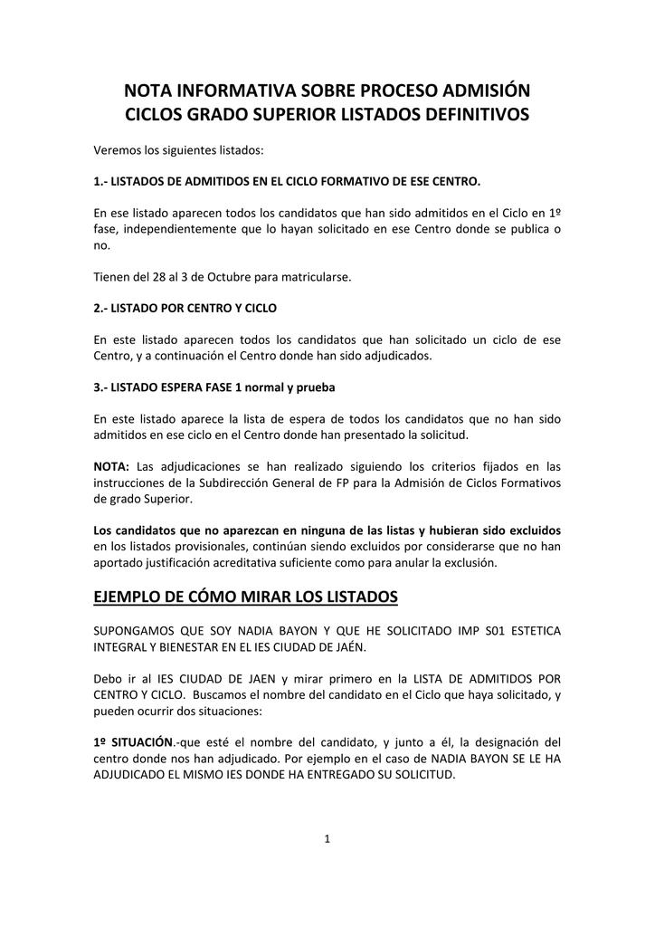 Nota Informativa Sobre Proceso Admisión Ciclos