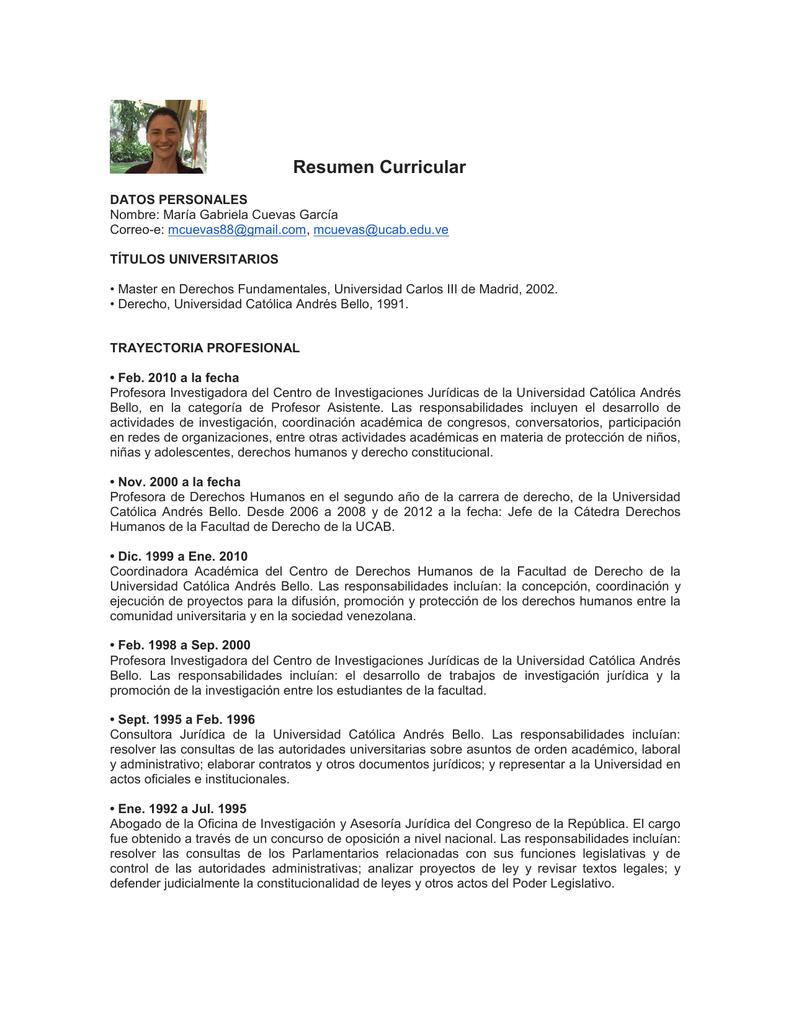 Curriculum Vitae - Universidad Católica Andrés Bello