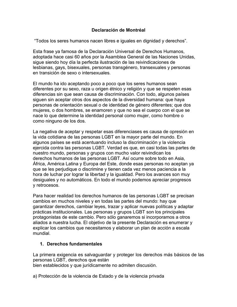 Declaración De Montréal Todos Los Seres Humanos Nacen Libres E