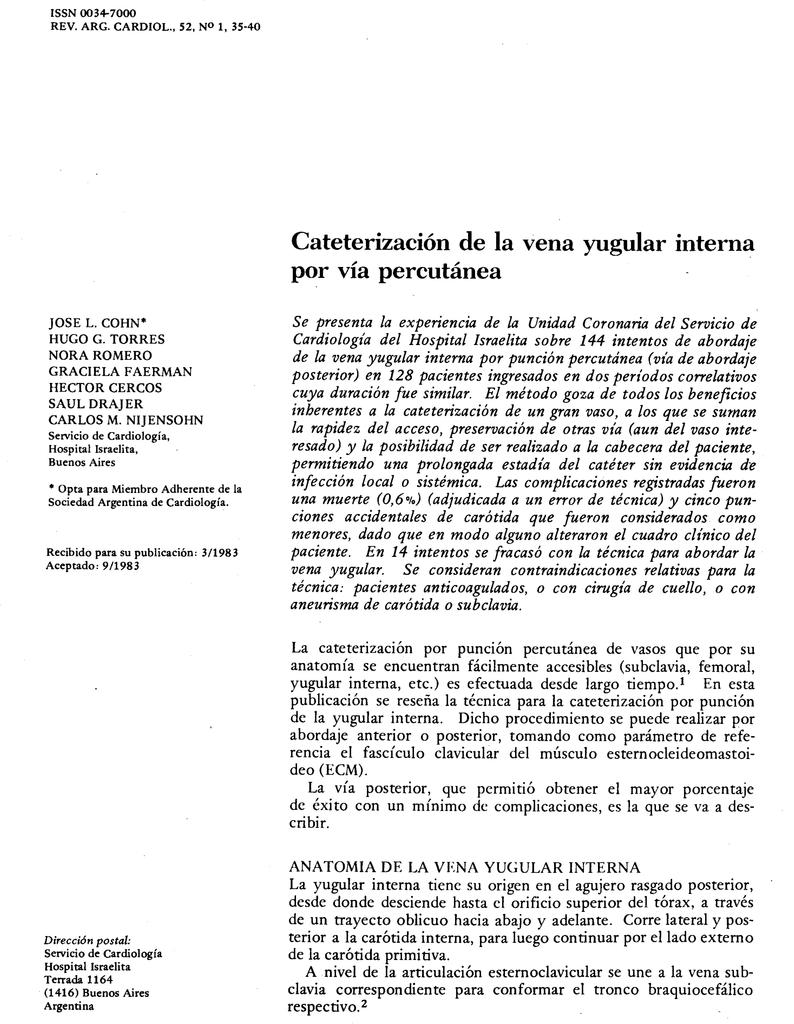 Cateterización de la vena yugular interna por vía percutánea