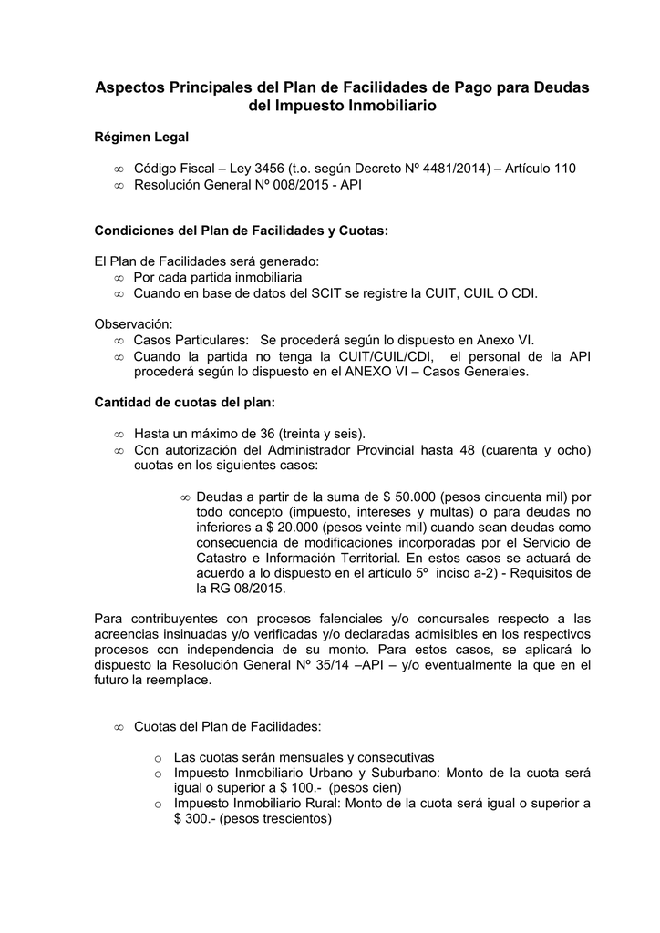 Regimen de facilidades de pago IMP INMOIBLIARIO 2015 vMC
