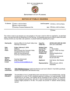notice of public hearing - Department of City Planning