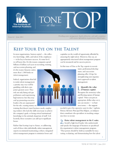 Keep Your Eye on the Talent - The Institute of Internal Auditors