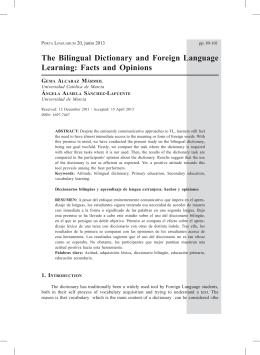 The Bilingual Dictionary and Foreign Language Learning: Facts and