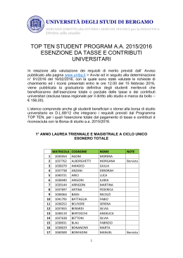 top ten student program aa 2015/2016 esenzione da tasse e