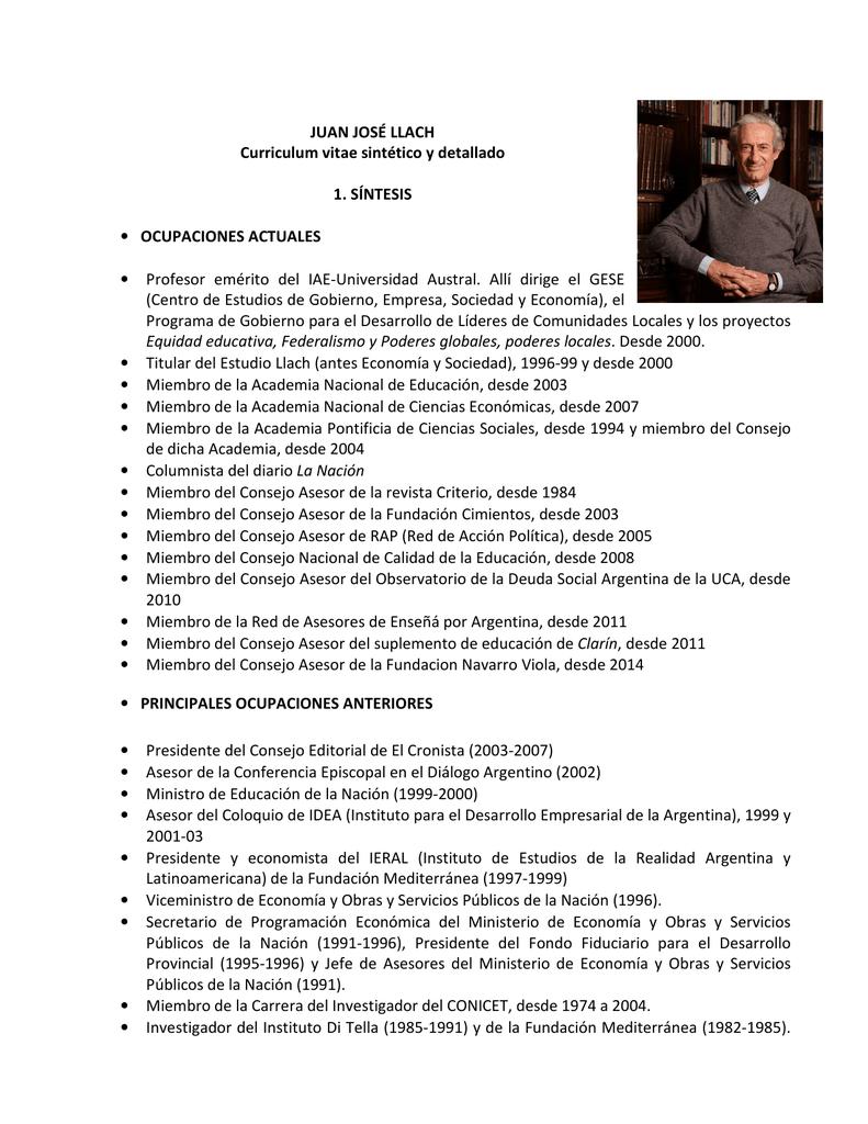 JUAN JOSÉ LLACH Curriculum vitae sintético y detallado 1