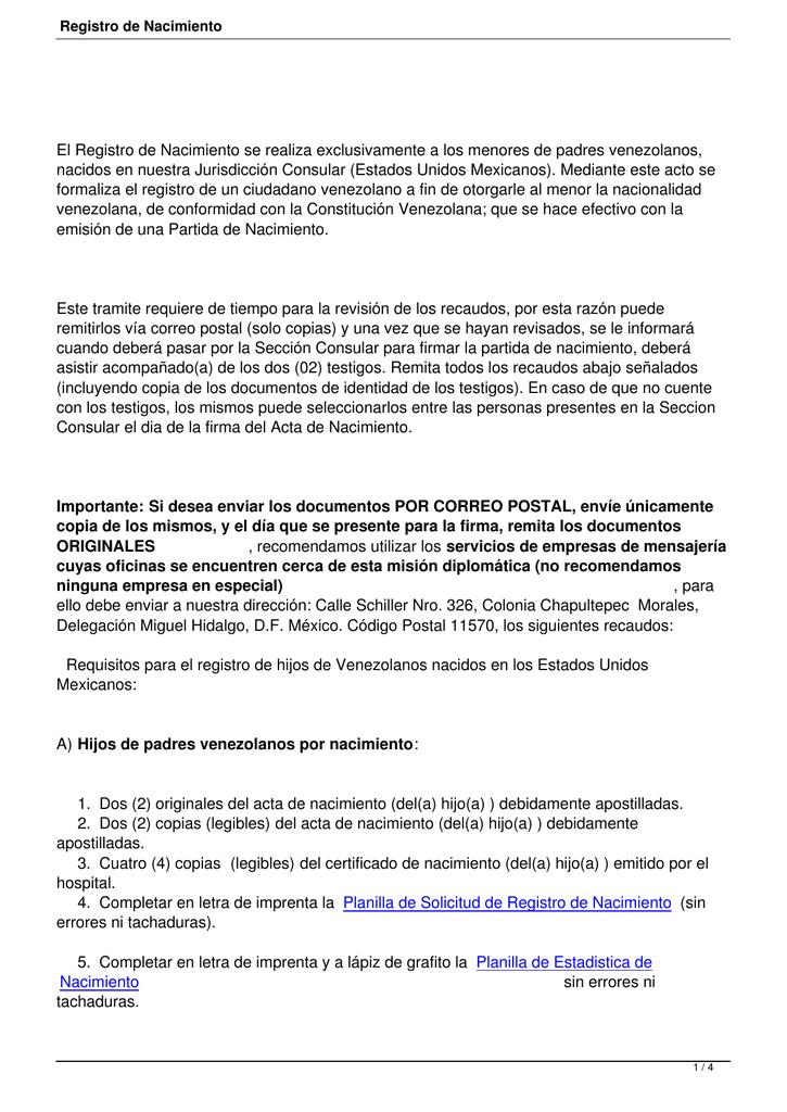 Registro de Nacimiento - Embajada de Venezuela en México