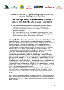 The savings banks transfer retail business assets and liabilities to
