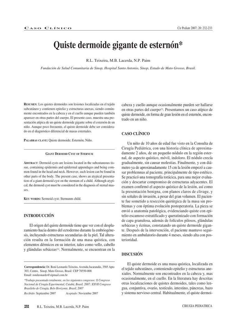 CASO CLÍNICO: Quiste dermoide gigante de esternón