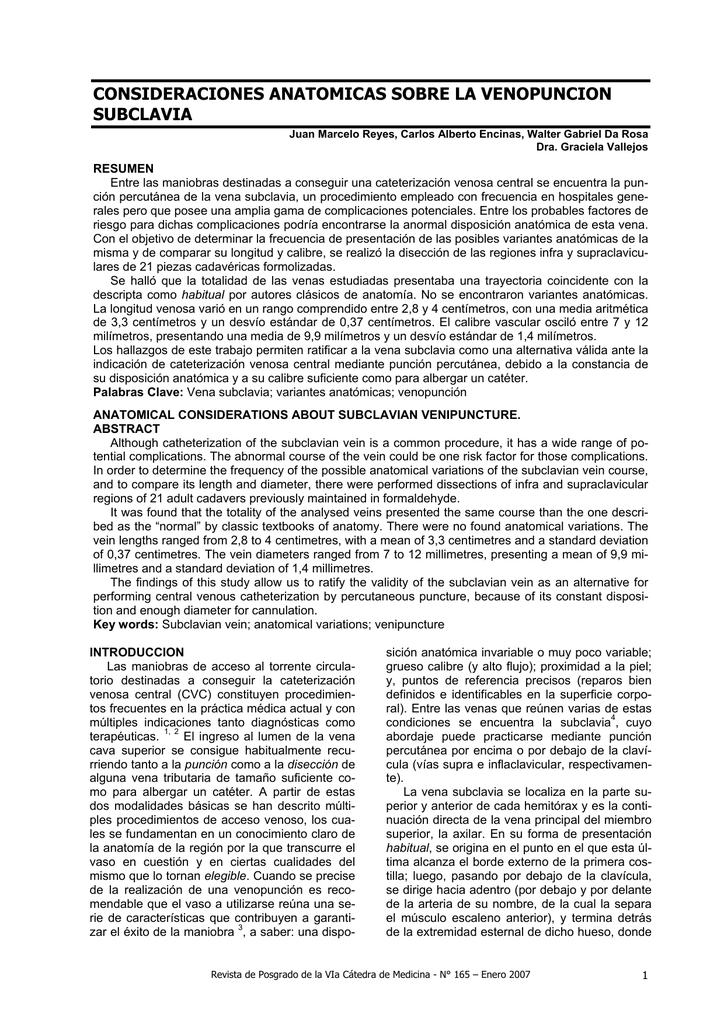 consideraciones anatomicas sobre la venopuncion subclavia