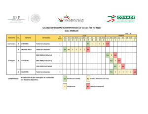 CALENDARIO GENERAL DE COMPETENCIAS (2° Versión / 19