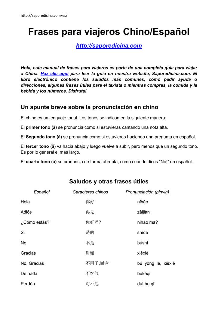 Frases Para Viajeros Chinoespañol