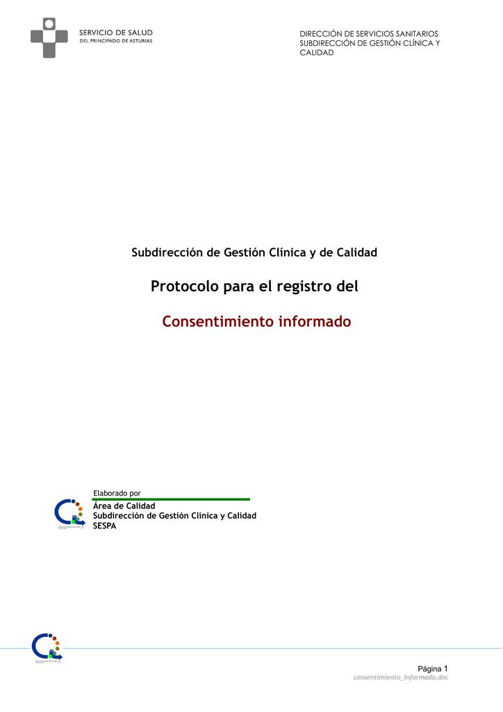 Protocolo para el registro del Consentimiento informado