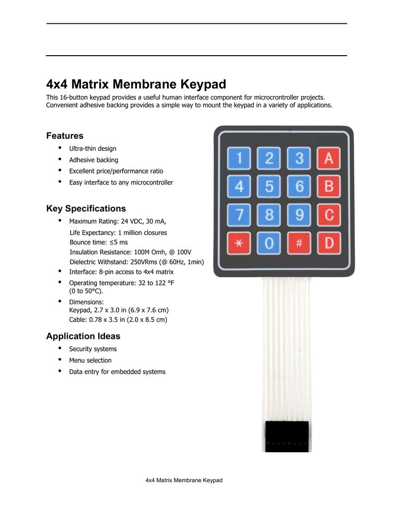 4x4 Matrix Membrane Keypad (#27899)