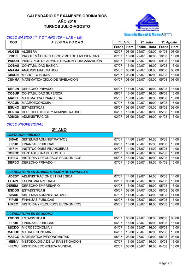 Calendario Turnos.Calendario De Examenes Ordinarios Ano 2016 Turnos