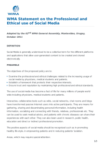 WMA Statement on the Professional and Ethical use of Social Media