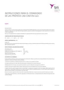 Especificaciones CoCr ESP - BTI Biotechnology Institute