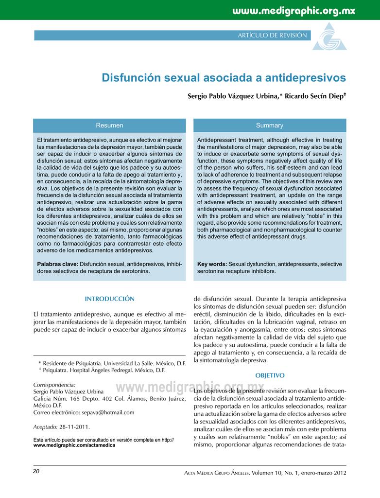 disfunción sexual con tratamiento ssris