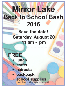 Mirror Lake Back to School Bash 2016 Save the date!