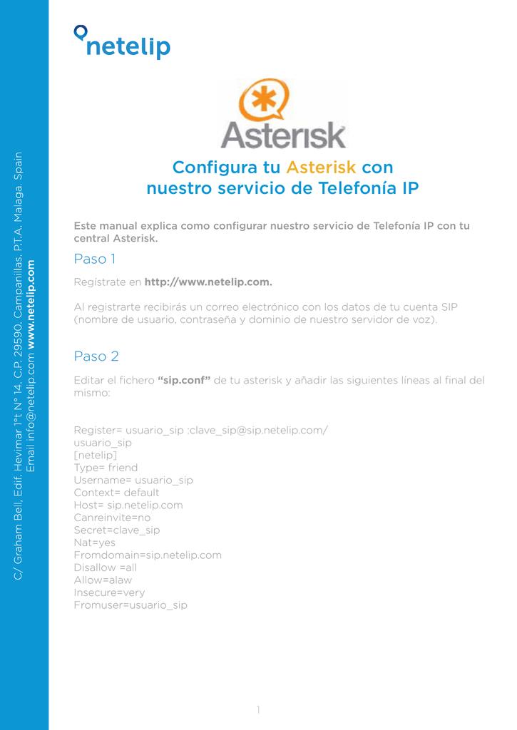 Configura tu Asterisk con nuestro servicio de Telefonía IP