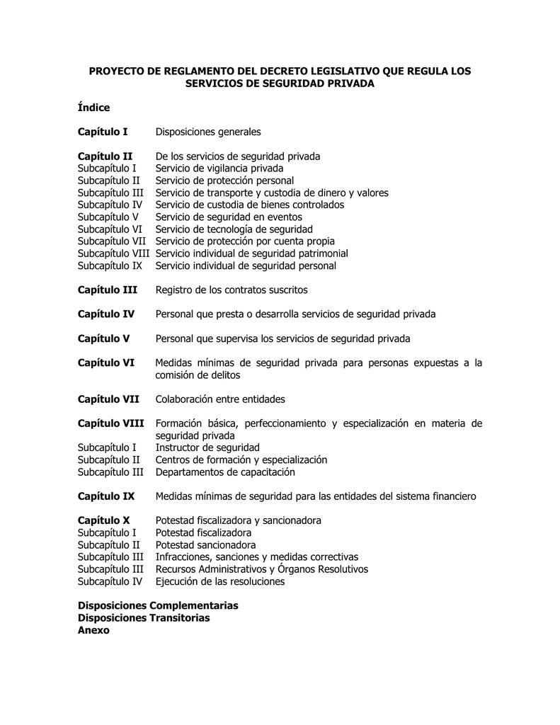 PROYECTO DE REGLAMENTO DEL DECRETO LEGISLATIVO