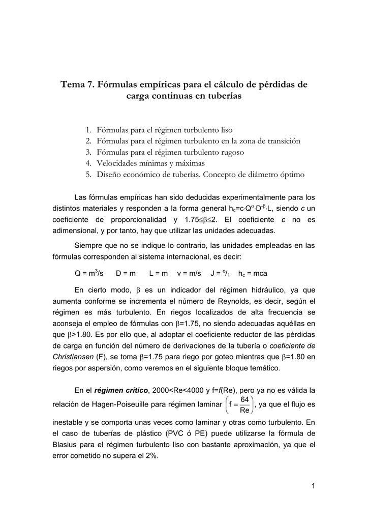 Tema 7. Fórmulas empíricas para el cálculo de pérdidas de carga