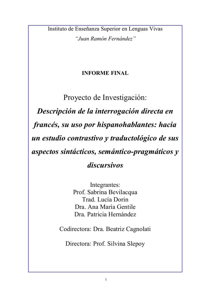 Proyecto De Investigación Descripción De La Interrogación