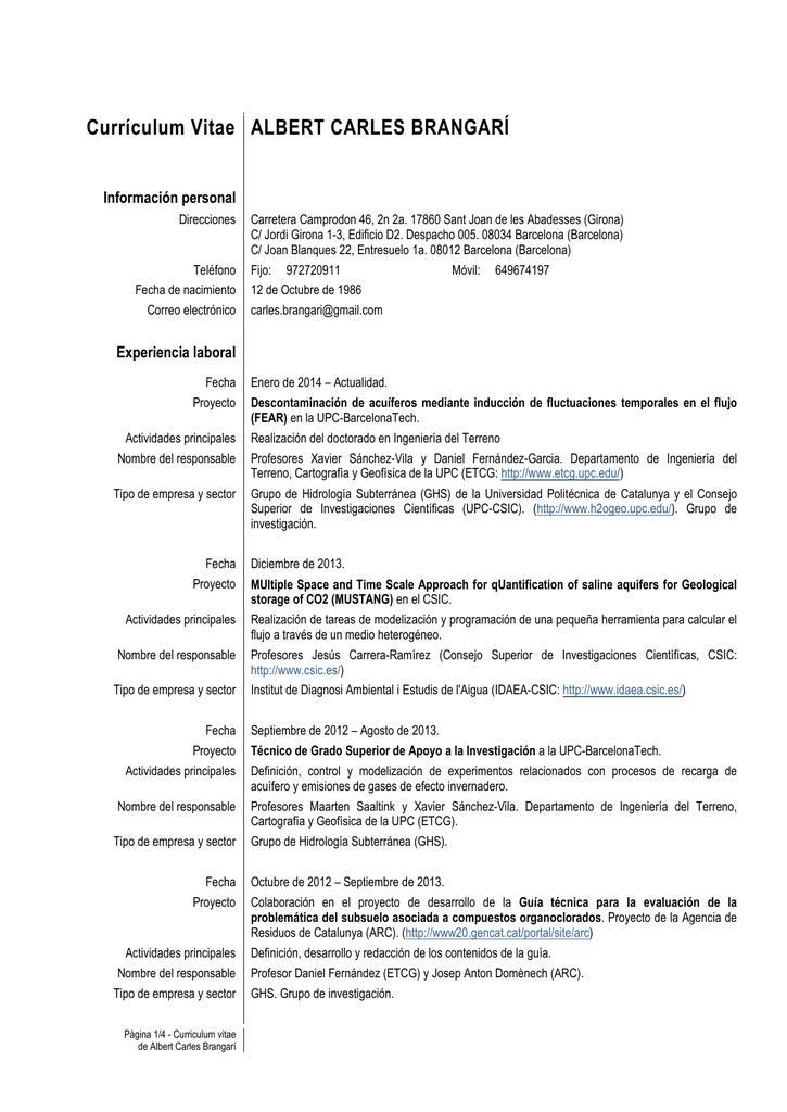 Curriculum Vitae Europass - Grupo de Hidrología Subterránea