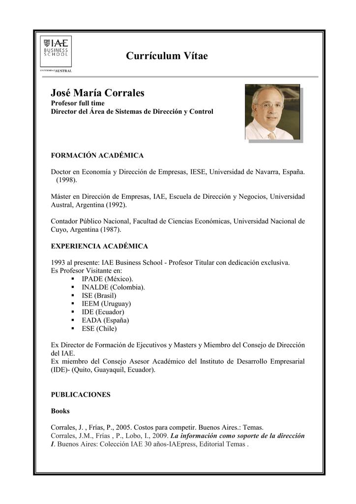 Curriculum Vitae Jose Maria Corrales