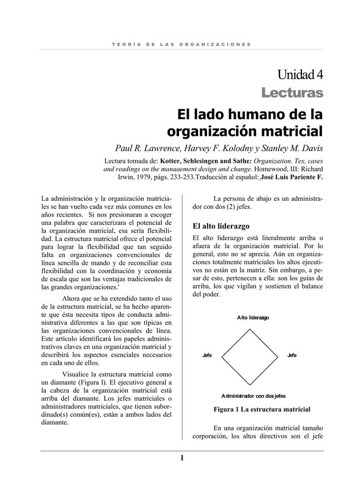 El Lado Humano De La Organización Matricial