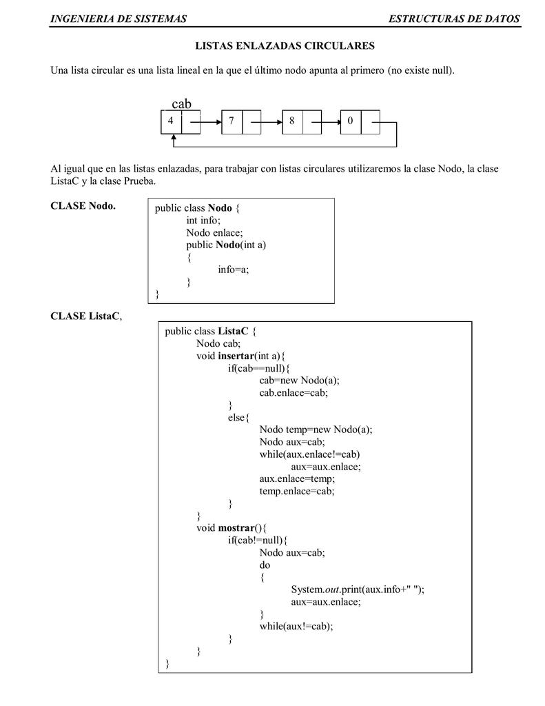 Ingenieria De Sistemas Estructuras De Datos Listas