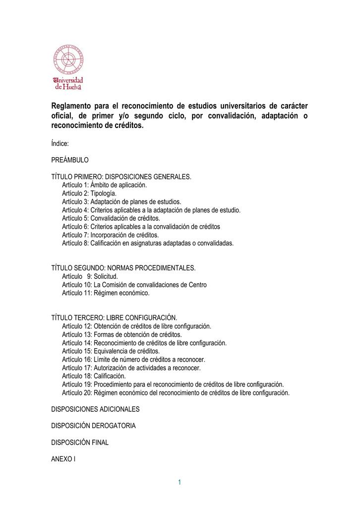 Reglamento Para El Reconocimiento De Estudios Universitarios De