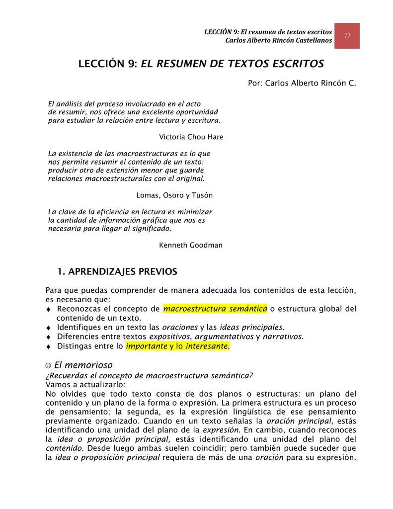 LECCIÓN 9: El resumen de textos escritos Carlos Alberto Rincón C.