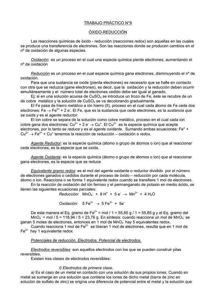 TRABAJO PRÁCTICO N°9 ÓXIDO-REDUCCIÓN Las reacciones