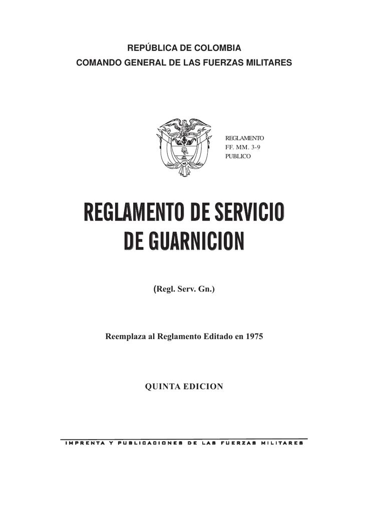 reglamento de servicio de guarnicion