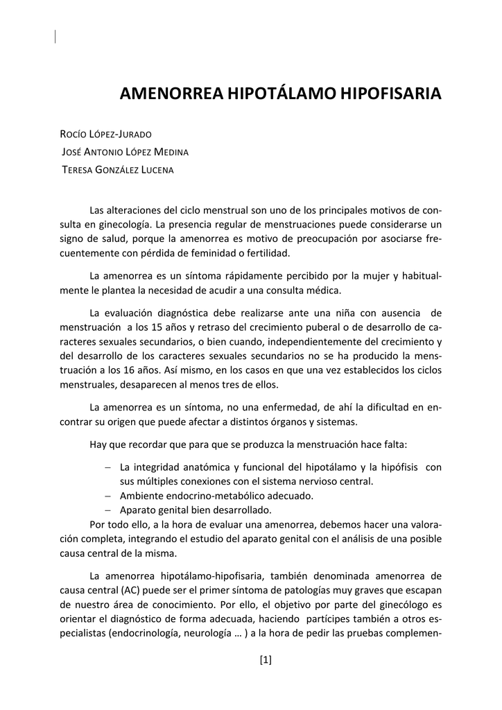 AMENORREA HIPOTÁLAMO HIPOFISARIA