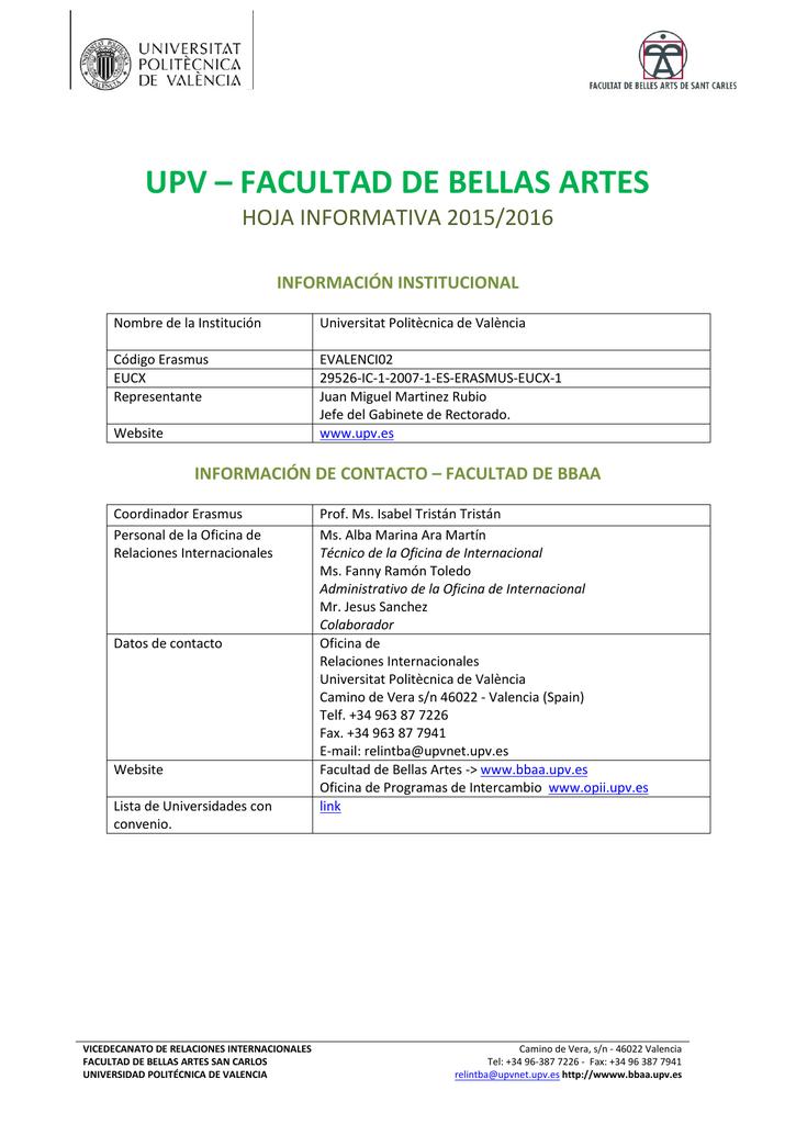 Calendario Etsa Upv.Upv Facultad De Bellas Artes