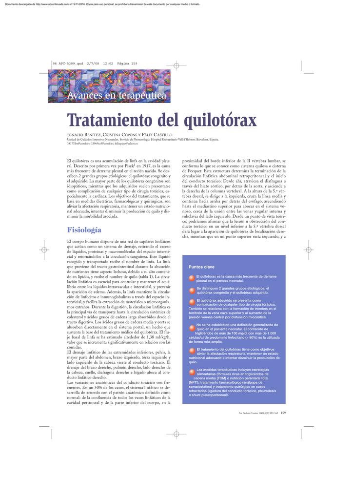 Tratamiento del quilotórax - Anales de Pediatría Continuada