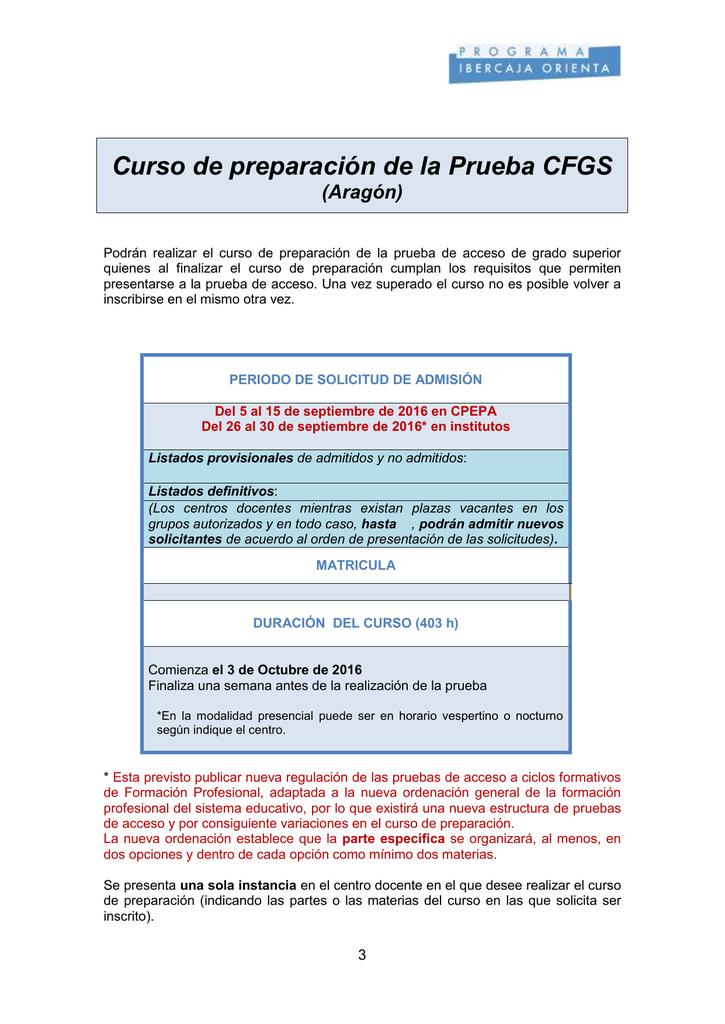 Curso De Preparación De La Prueba Cfgs Aragón