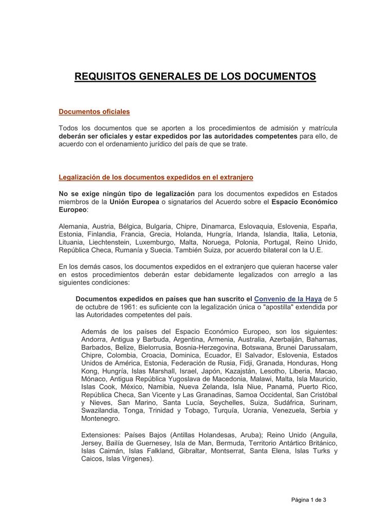 REQUISITOS GENERALES DE LOS DOCUMENTOS